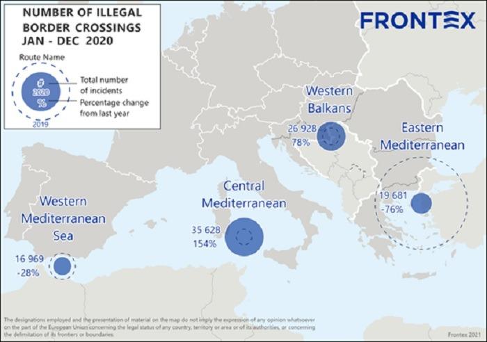 Mapa de la Migración irregular a la UE, número de cruces ilegales de la frontera exterior en 2020.